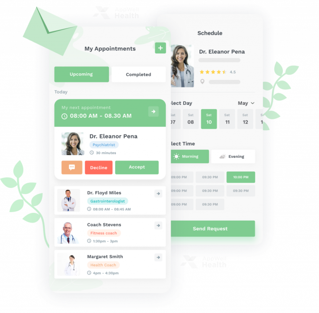 AppWell Health - Scheduling appointments, app feature